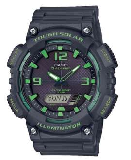 Reloj Casio Collection Tough Solar Anadigi todo negro y verde AQ-S810W-8A3VEF