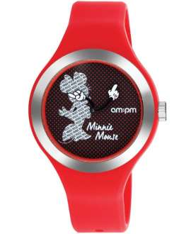 Reloj am:pm Analógico Disney Minnie correa de Silicona Roja DP155-U354