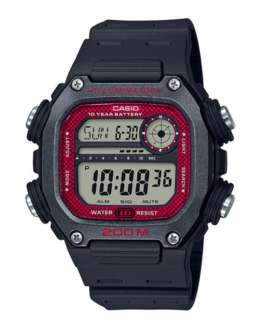 Reloj para hombre digital Casio Collection Negro/Rojo DW-291H-1BVEF -200 mts-Correa resina