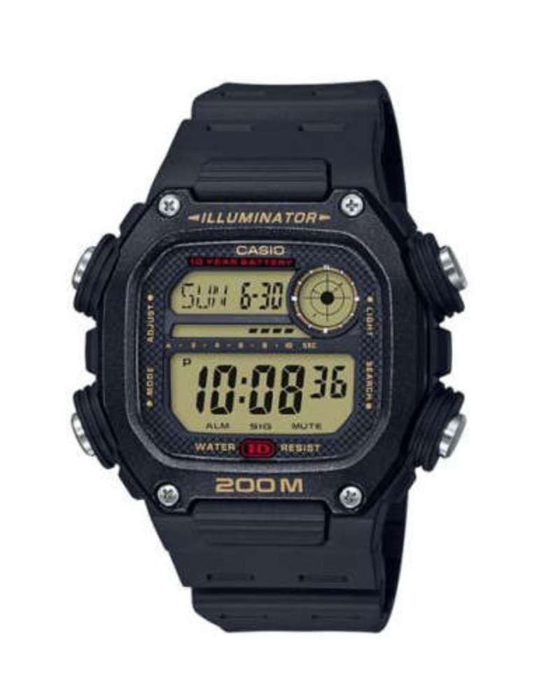 Reloj para hombre digital Casio Collection Negro/Dor. DW-291H-9AVEF -200 mts-Correa resina