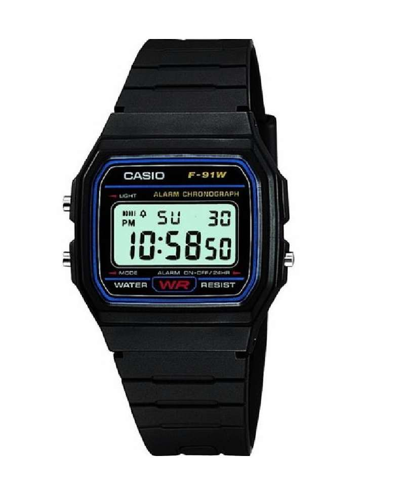 Reloj digital Casio Collection F-91W-1YER todo resina negra